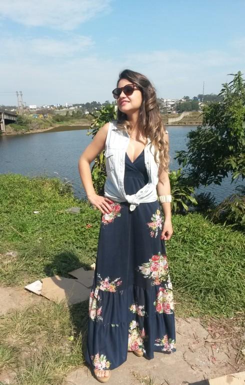 20140907_143140-e1410306489639 Look do dia: Vestido + Colete Jeans